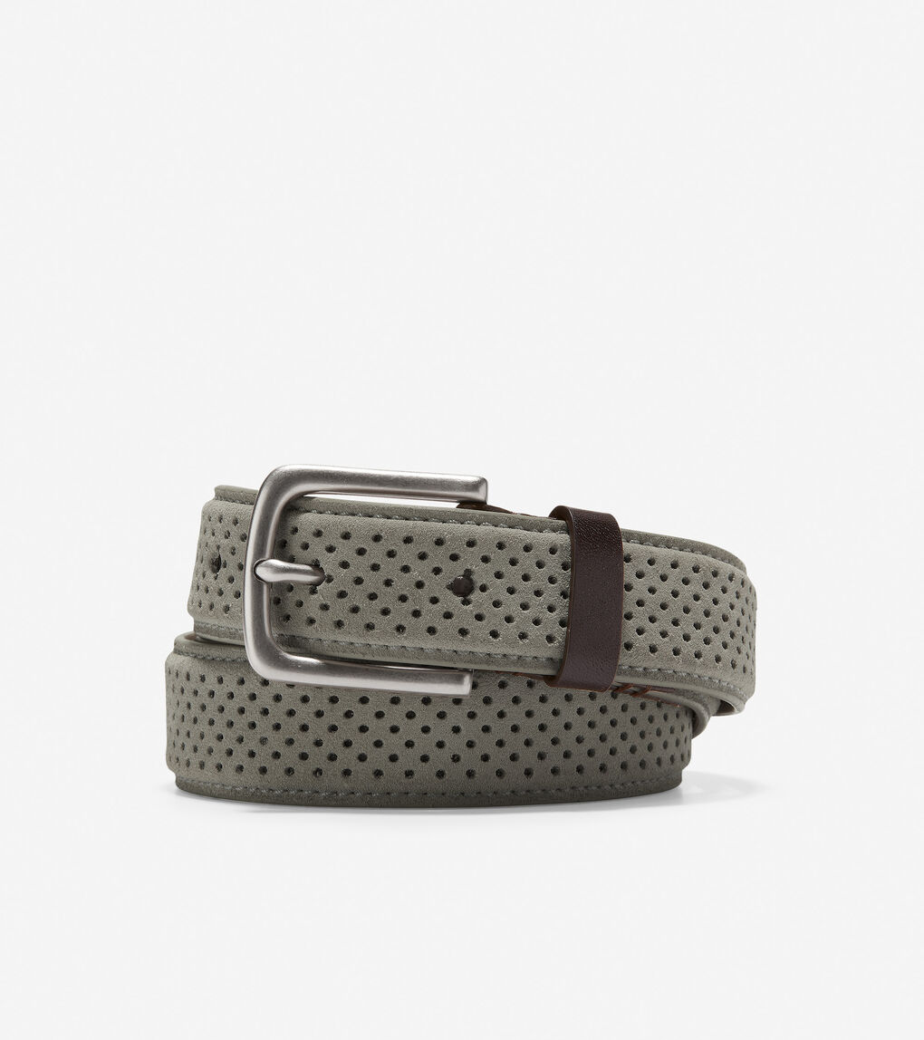 adea751c87 Men's Feathercraft 32mm Perforated Belt in Grey Suede | Cole Haan US