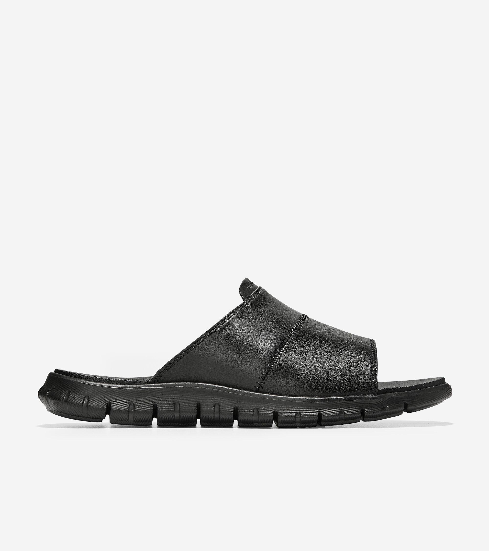 Slide Sandal in Black Leather | Cole Haan