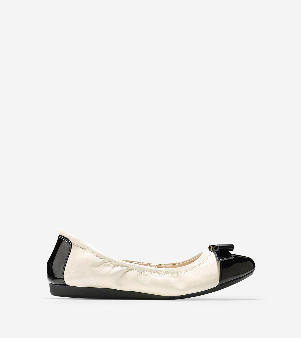 e35852205 Women's Elsie Bow Ballet Flat in Ivory-black Patent | Cole Haan US