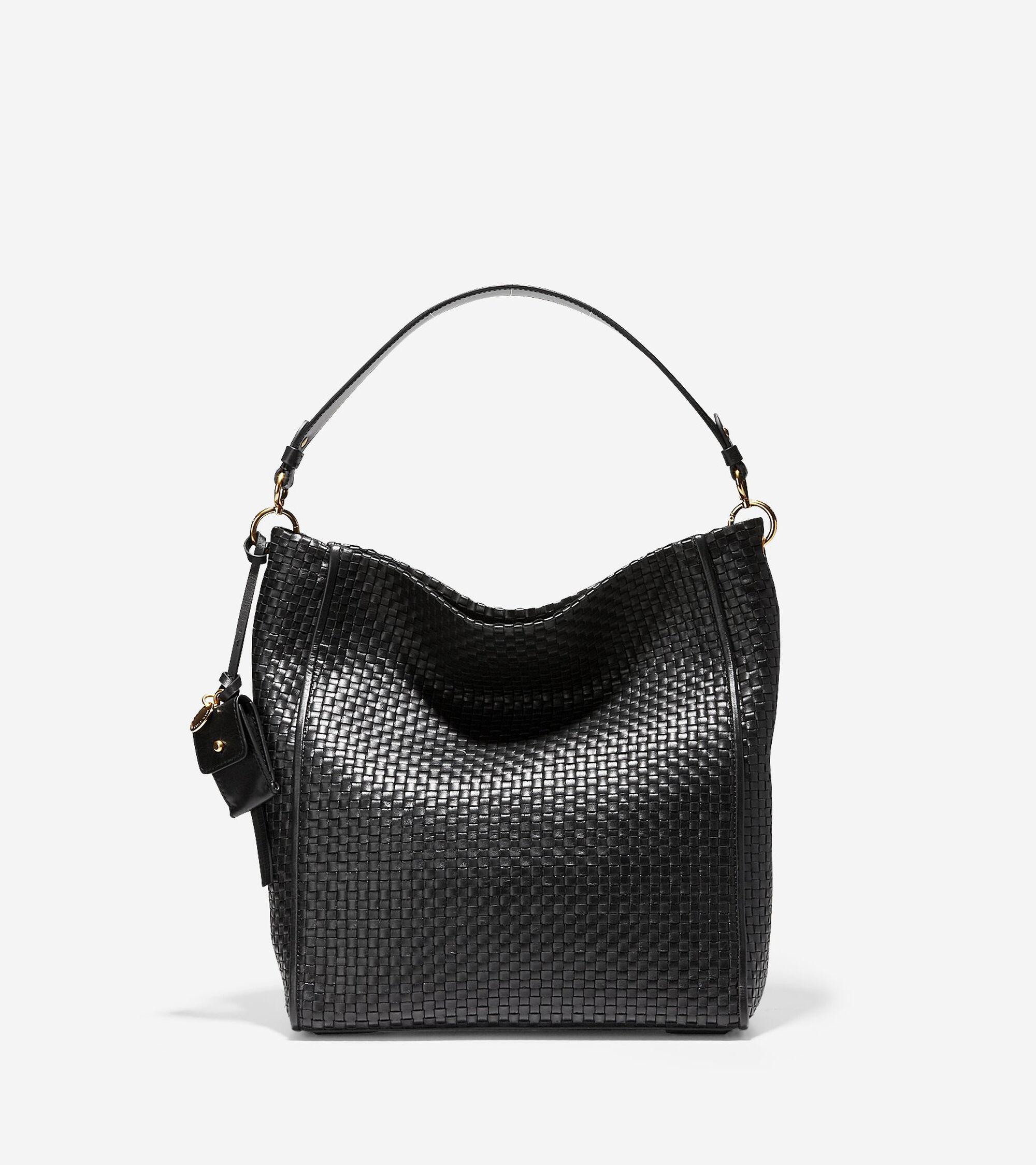 4b6bcaaf33 Women s Zoe Woven Bucket Hobo in Black Leather