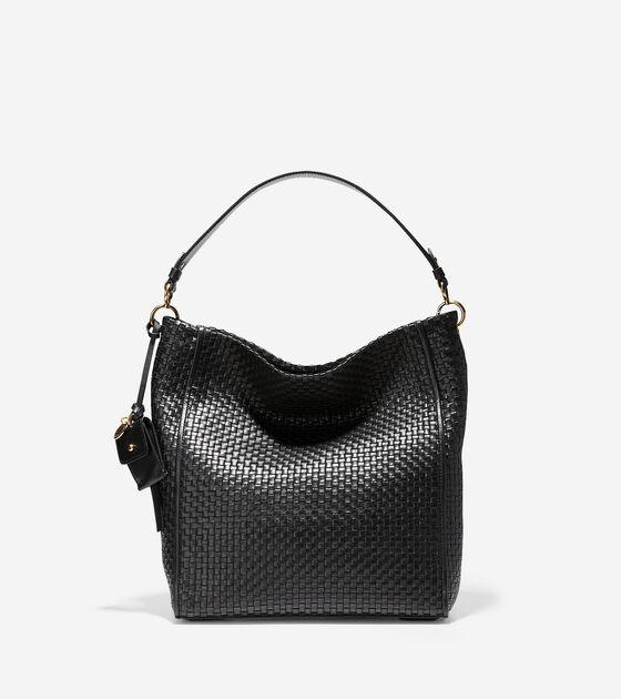 308ad2b023a8 Women s Zoe Woven Bucket Hobo in Black Leather