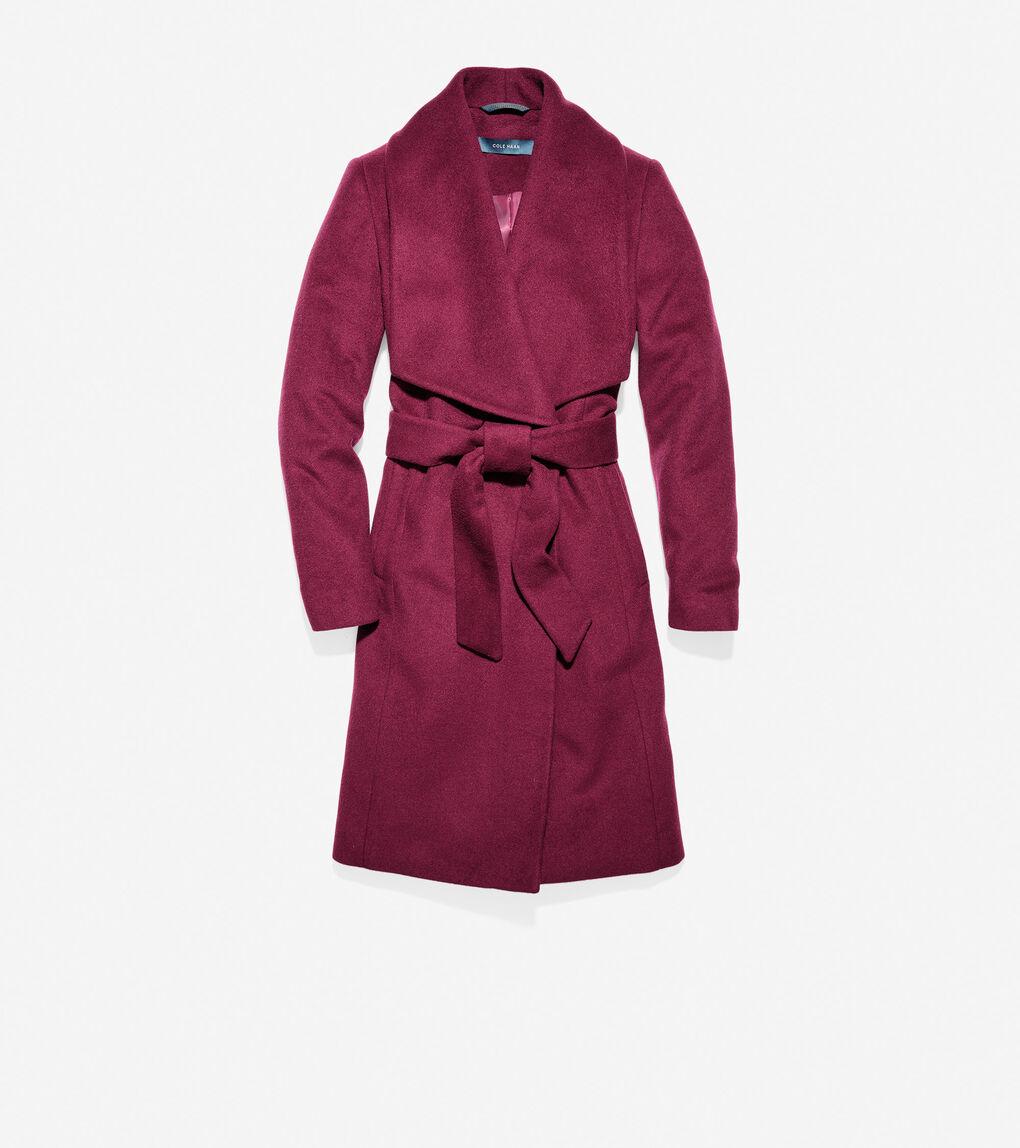 Womens Melange Twill Wrap Coat
