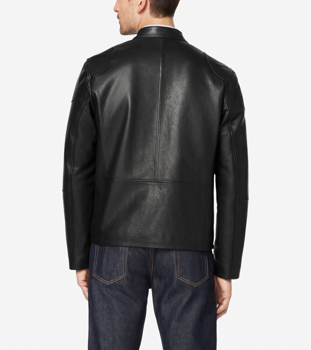 Mens Front Zip Moto Jacket