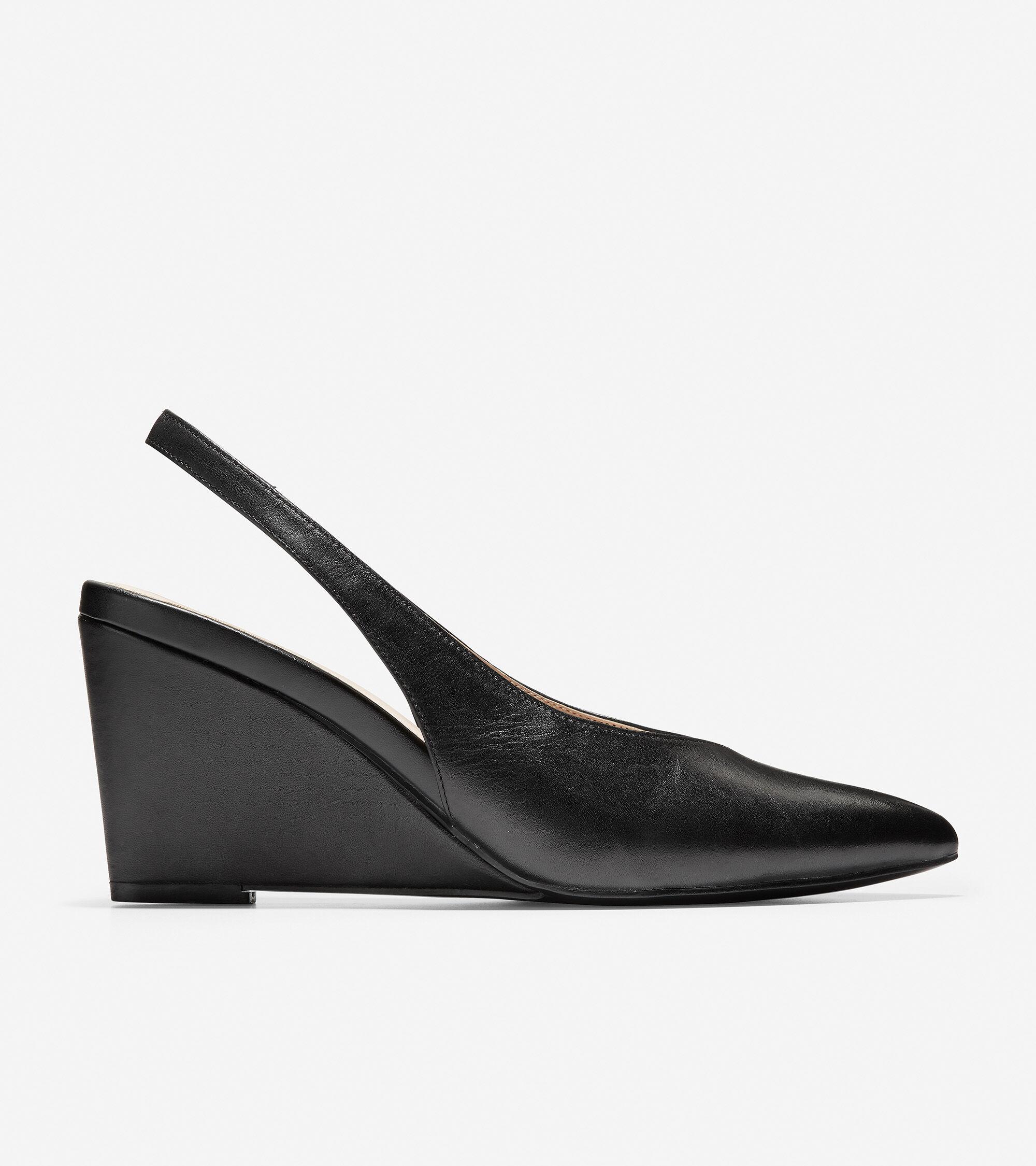 Elnora Slingback Wedge in Black Leather