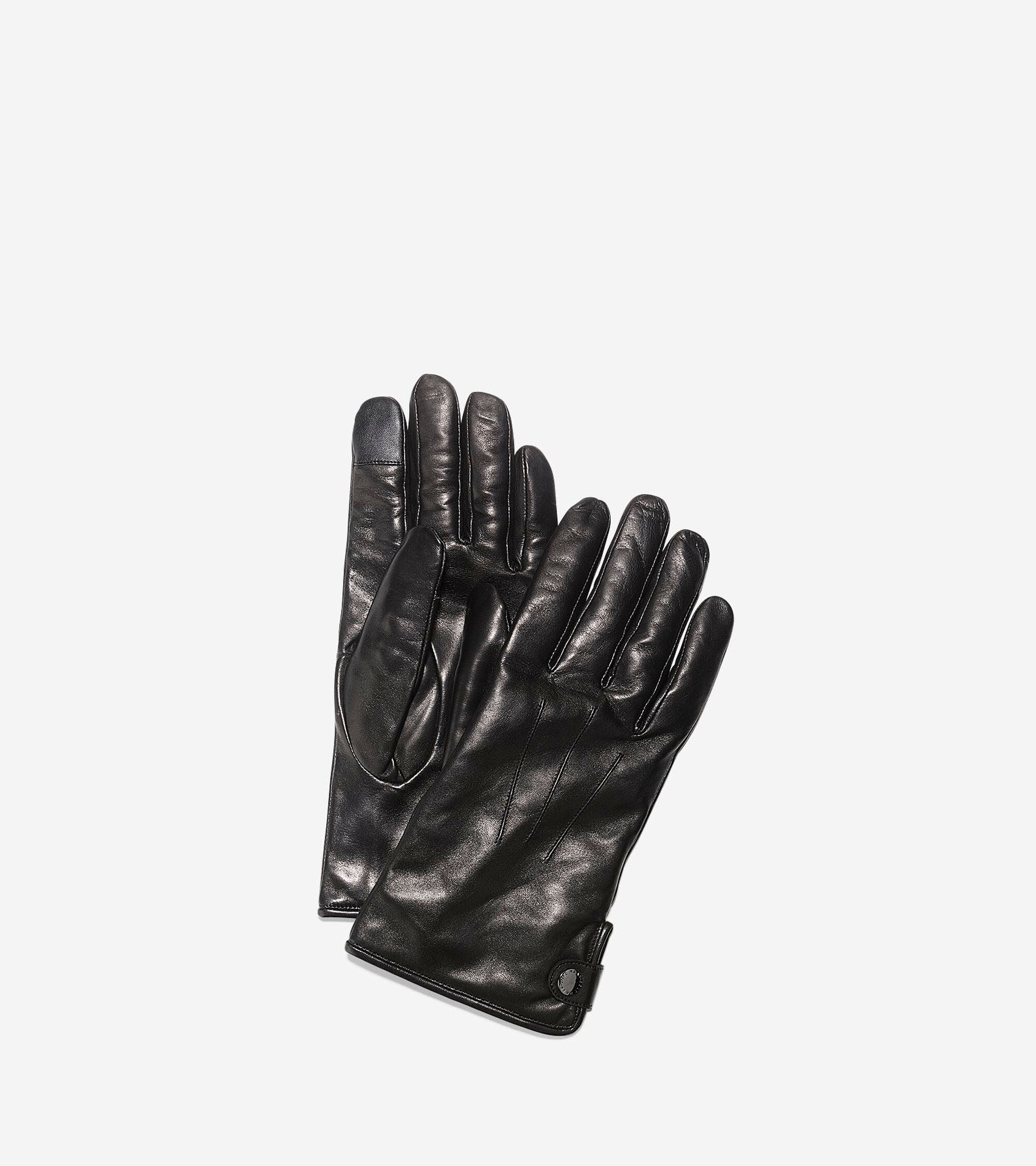 Cole Haan Mens Side Snap Gloves With Center Points