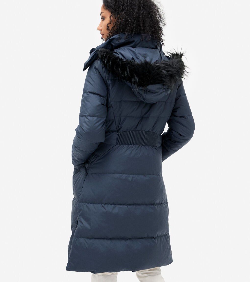 WOMENS Long Quilted Puffer Coat With Fur