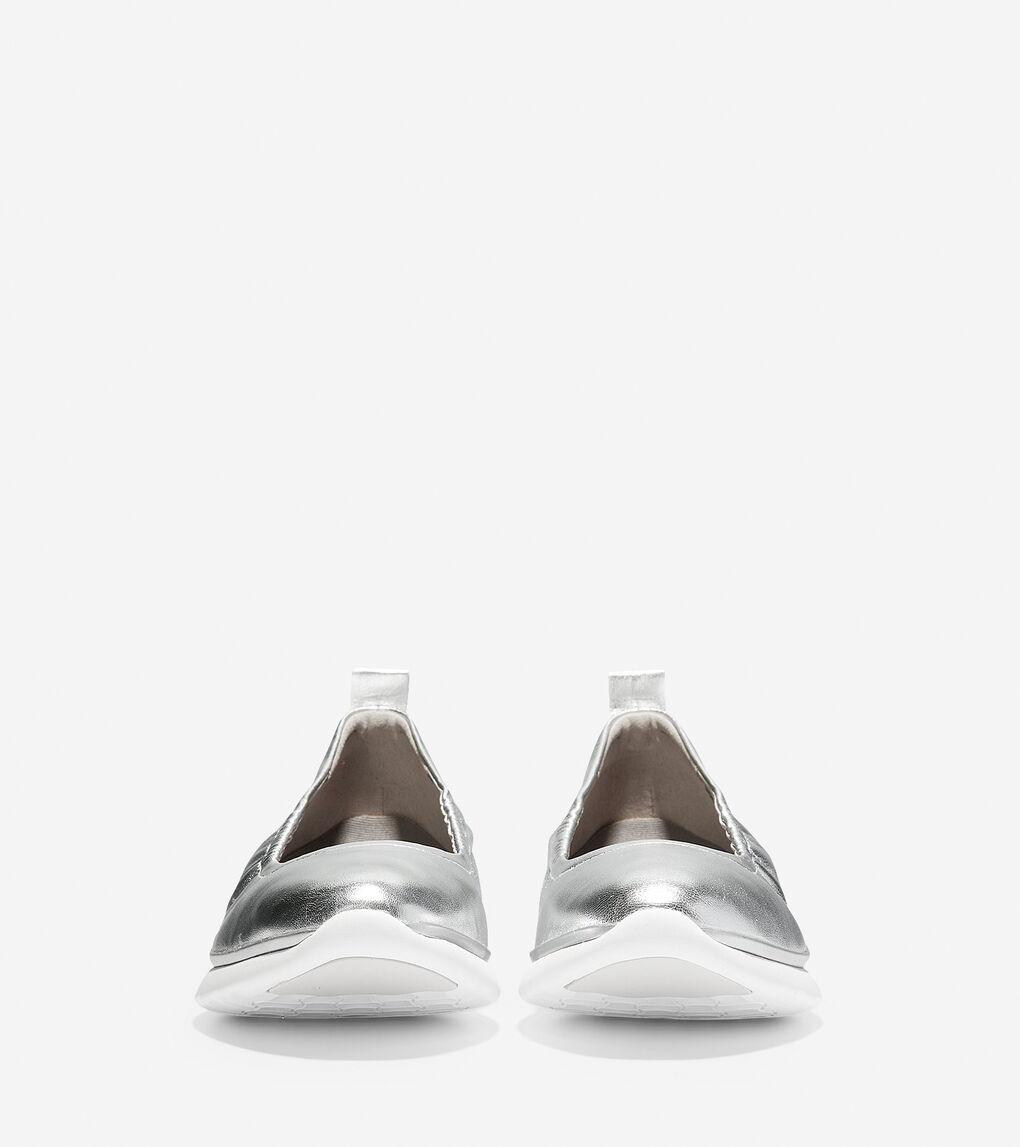 Womens 3.ZERØGRAND Rouched Slip-On Ballet Flat