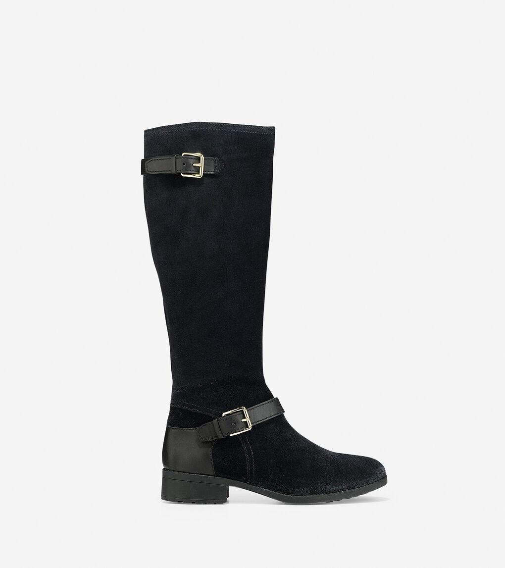 c8671b5358a Women's Marla Tall Boot (30mm) in Black Waterproof Suede | Cole Haan US