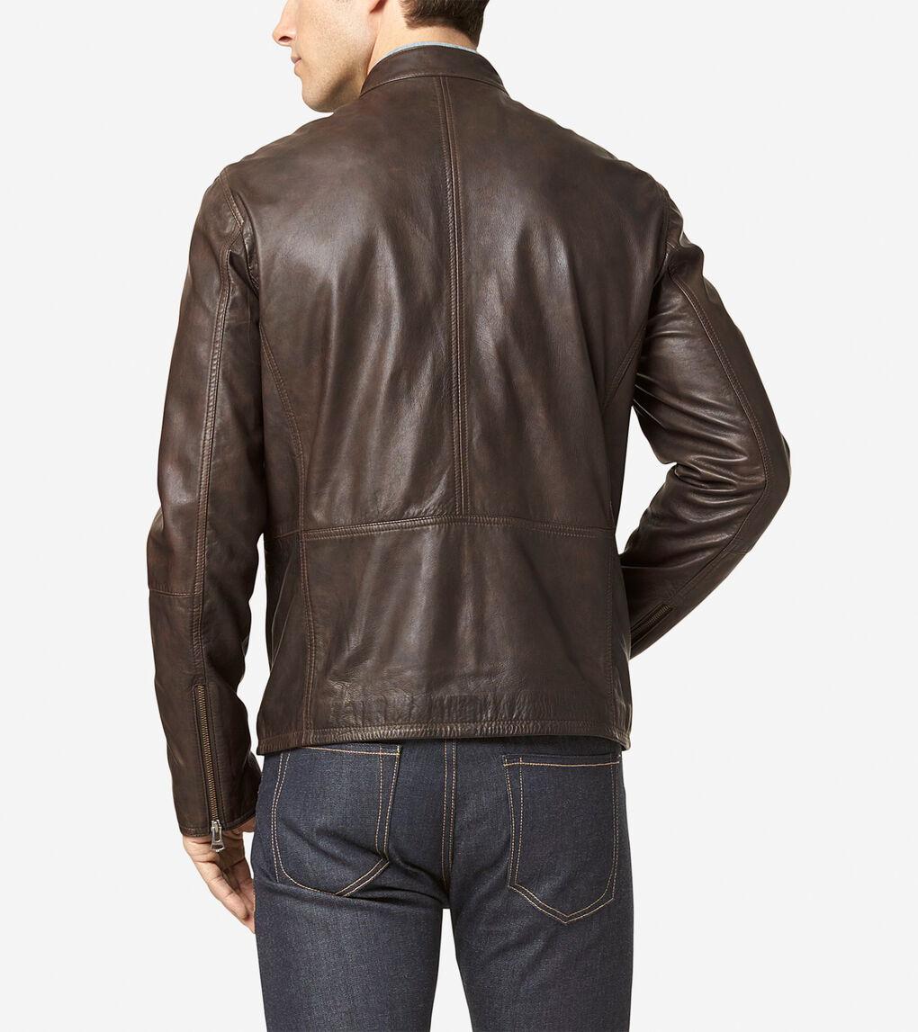 Mens Washed Leather Moto Jacket