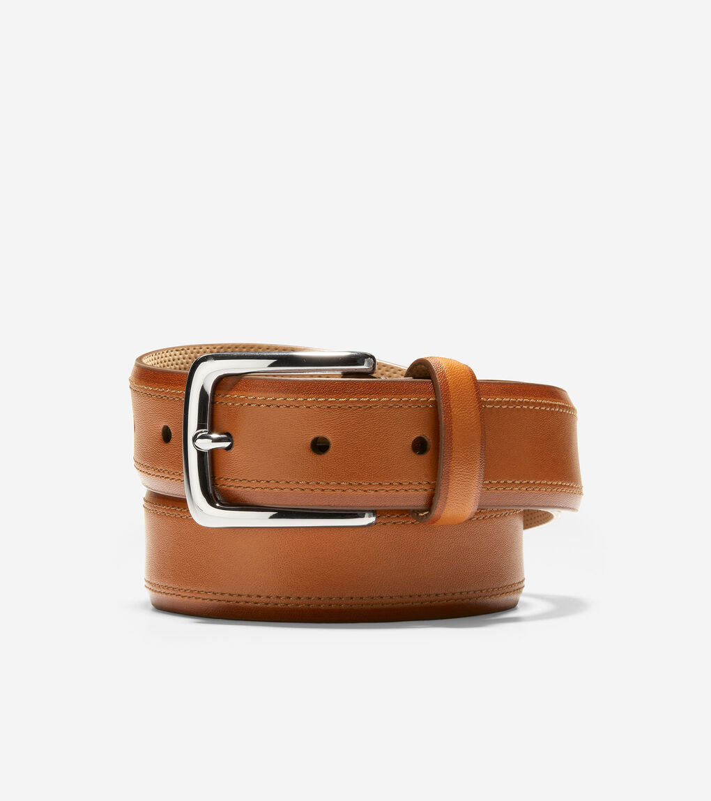 MENS Feathered Edge Double Stitch 32mm Belt