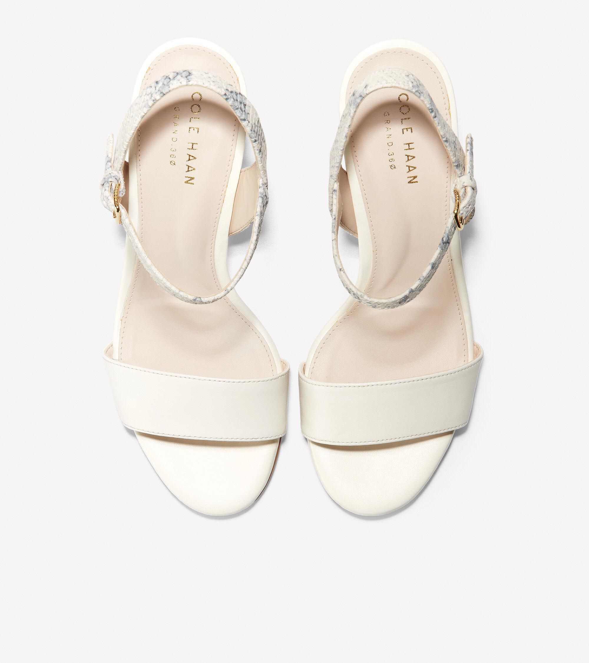 Josie Block Heel Sandal in Ivory Roccia
