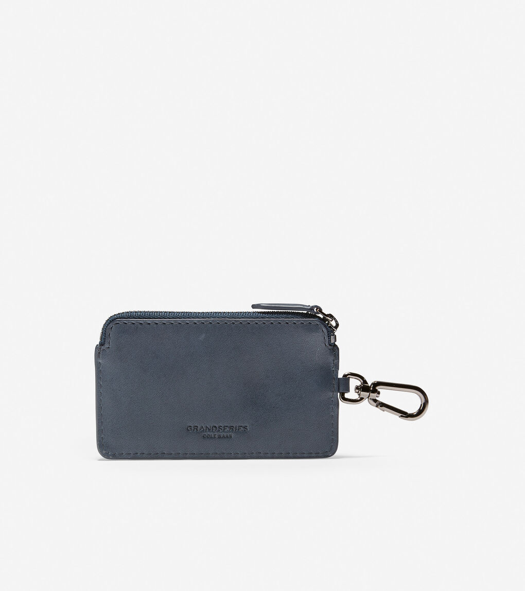 Mens GRANDSERIES Leather Zip Card Case With Key Ring