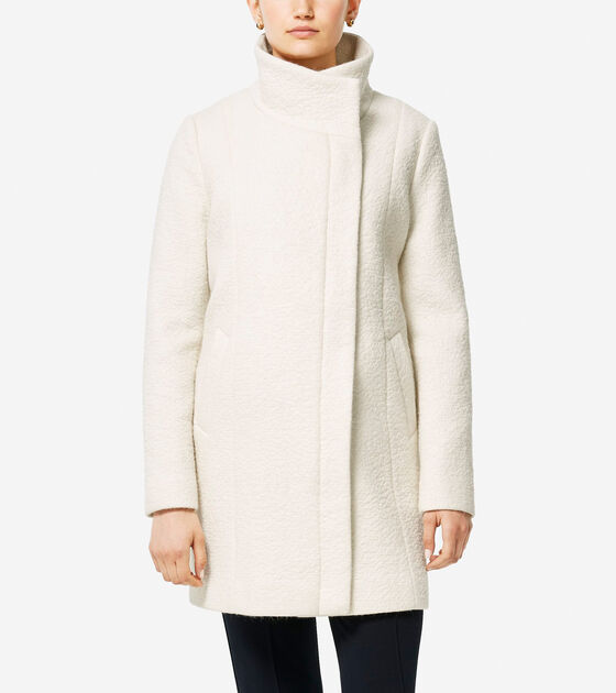 Outerwear > Coated Wool Funnel Neck Coat