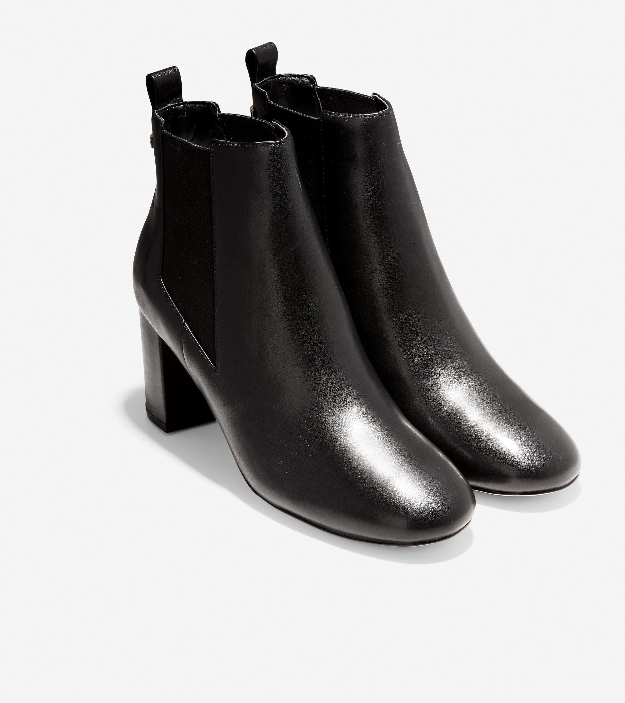 Nitasha Bootie (65mm) in Black Leather