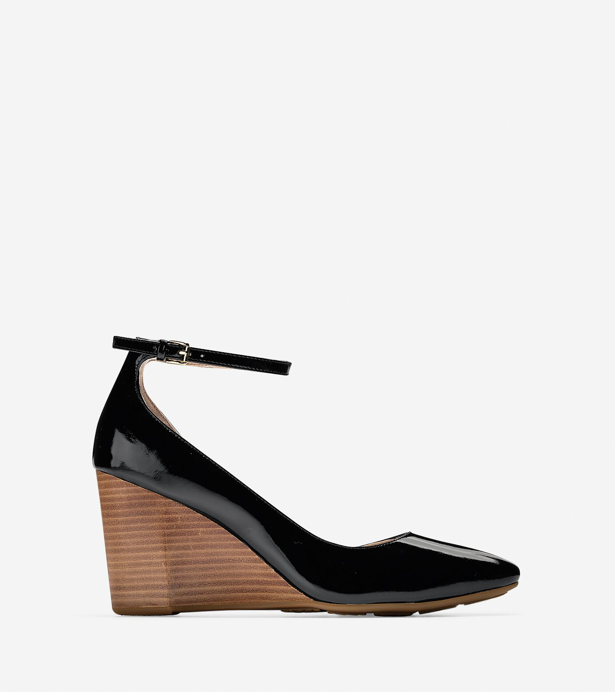 95bb2c4a1d Lacey Ankle Strap Wedges 85mm in Black Patent | Cole Haan