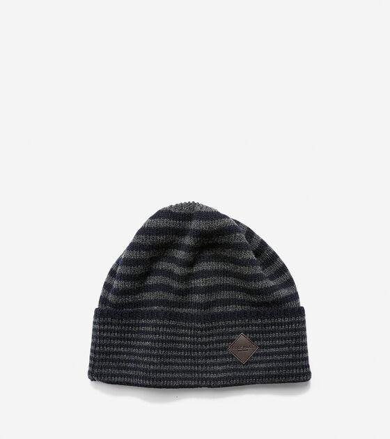 Men s Double Stripe Cuff Hat in Marine-Charcoal  c69aaacc946