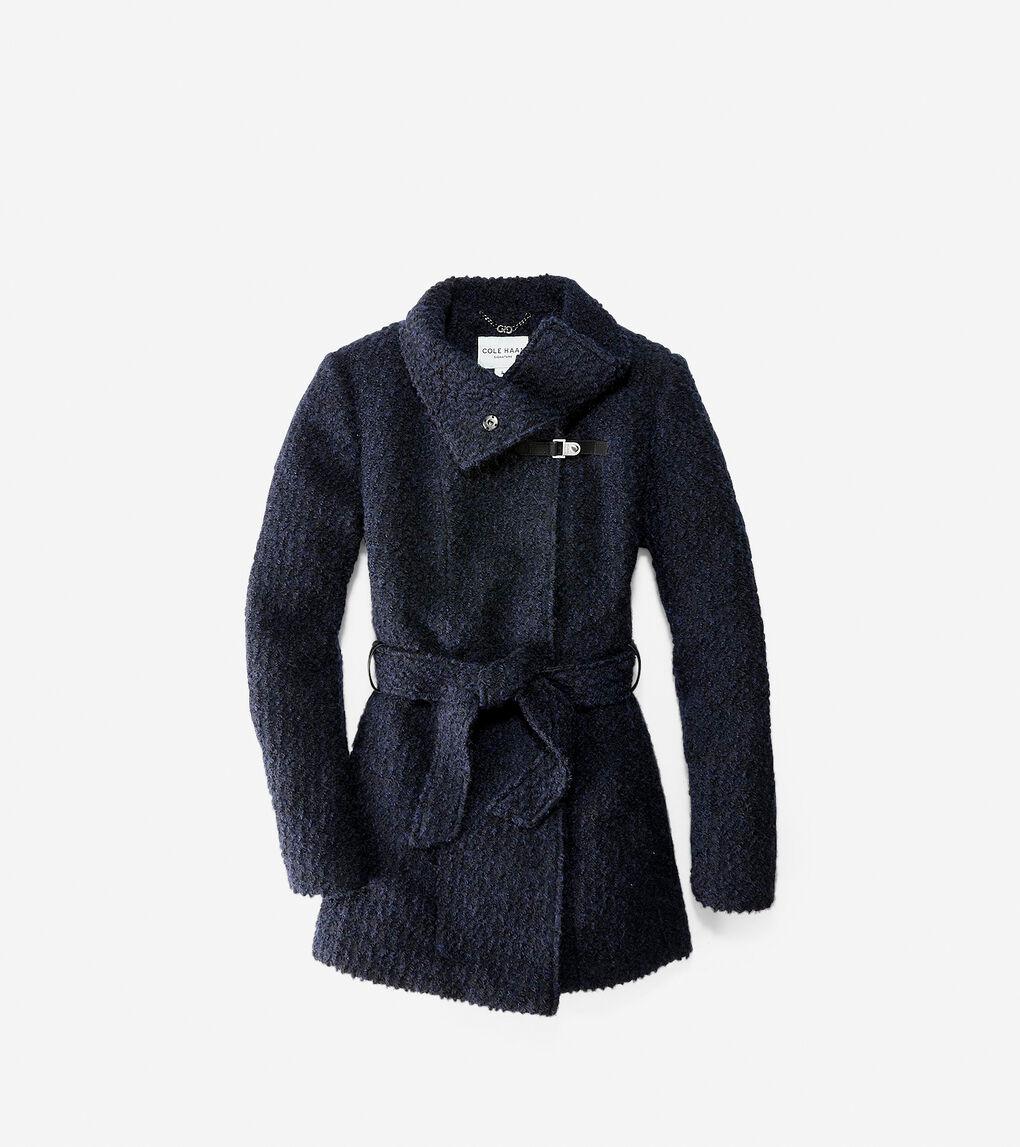 Womens Funnel Collar Boucle Coat