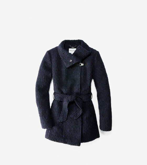 Outerwear > Funnel Collar Boucle Coat