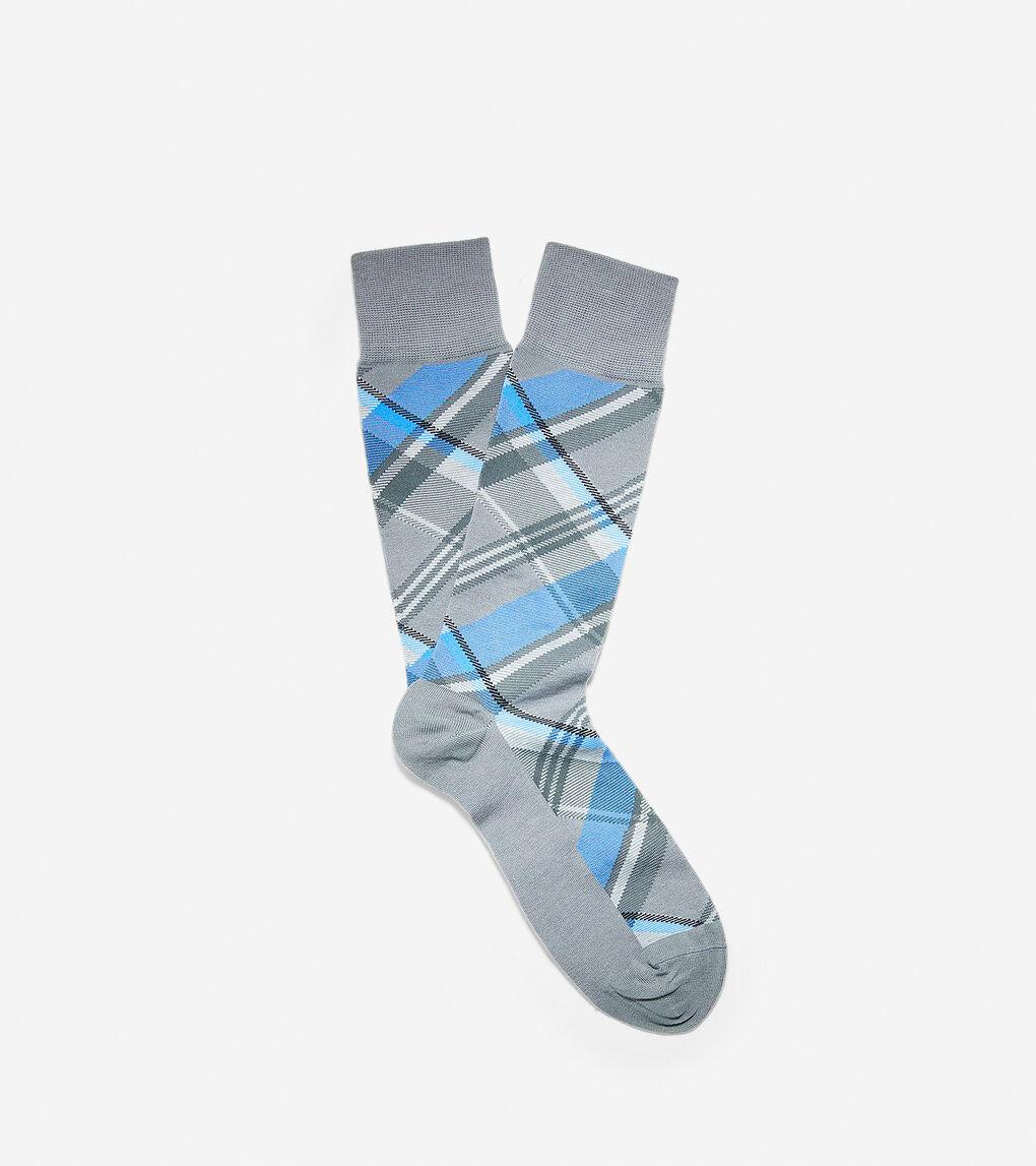 Mens Diagonal Plaid Crew Socks