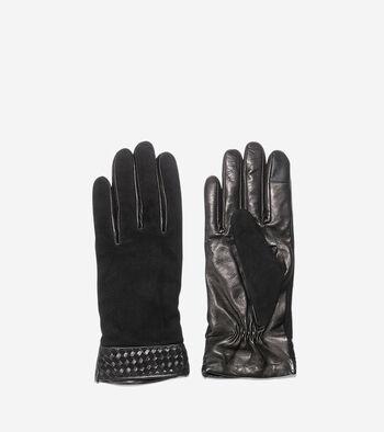 Braided Cuff Suede Gloves