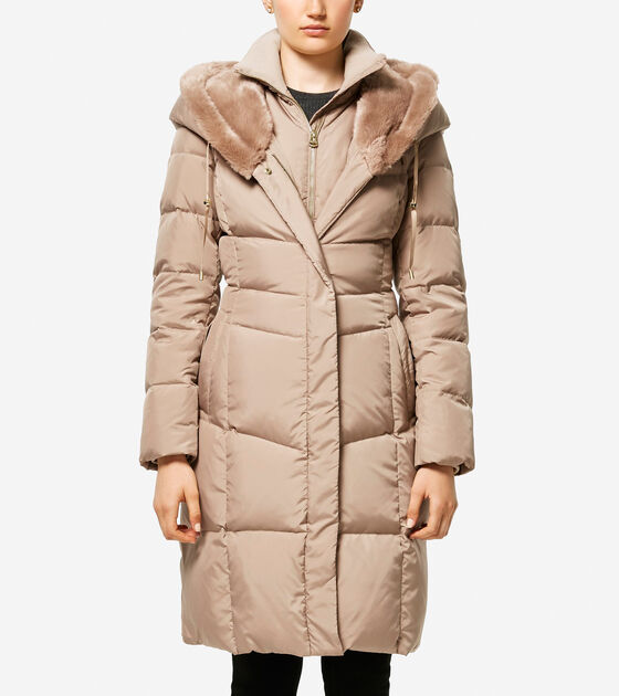 Accessories & Outerwear > Essential Down Faux Fur Hooded Coat