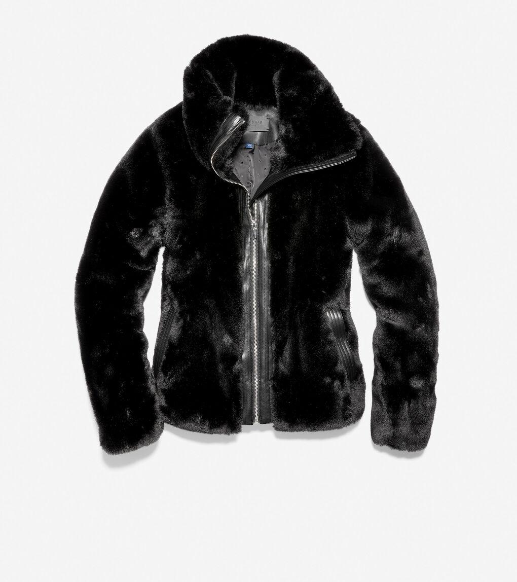 Womens Plush Faux Fur Moto Jacket