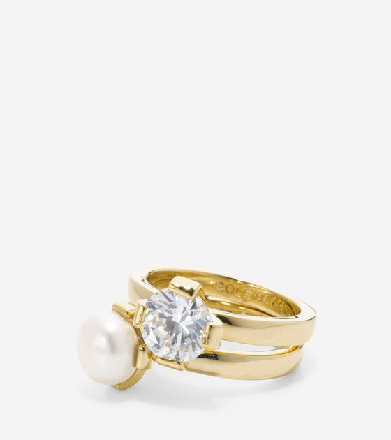Bags & Outerwear > Fresh Water Pearl CZ Stack Ring Set