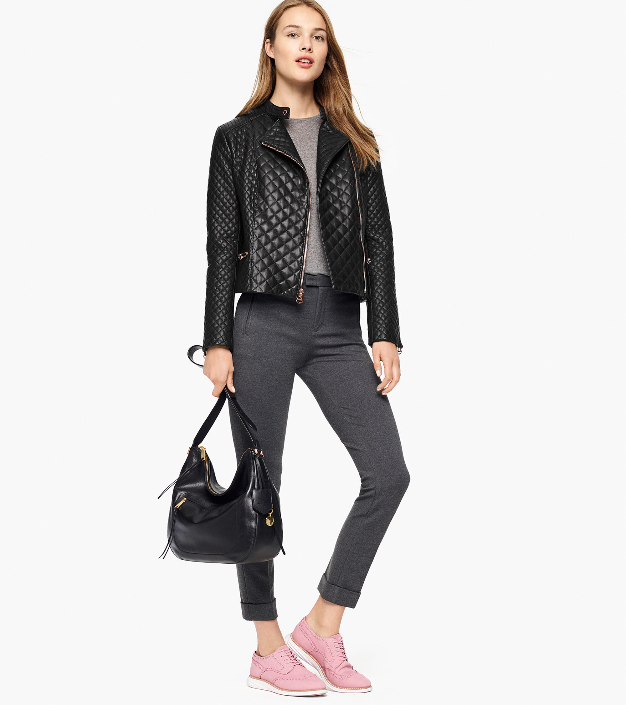 Womens Italian Smooth Lambskin Quilted Moto Jacket In Black Cole Haan
