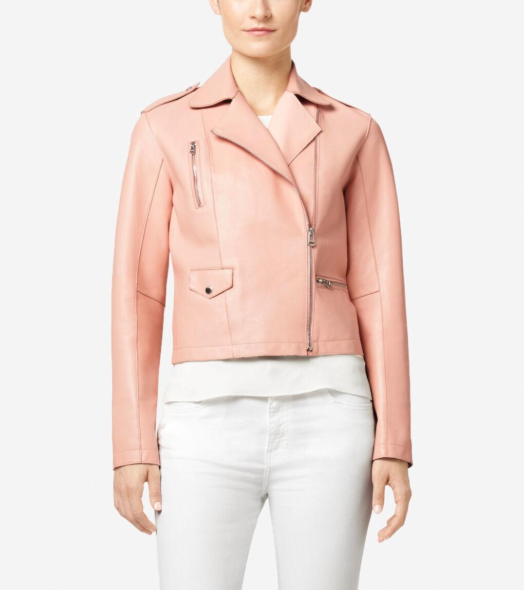 Womens Asymmetrical Leather Moto Jacket