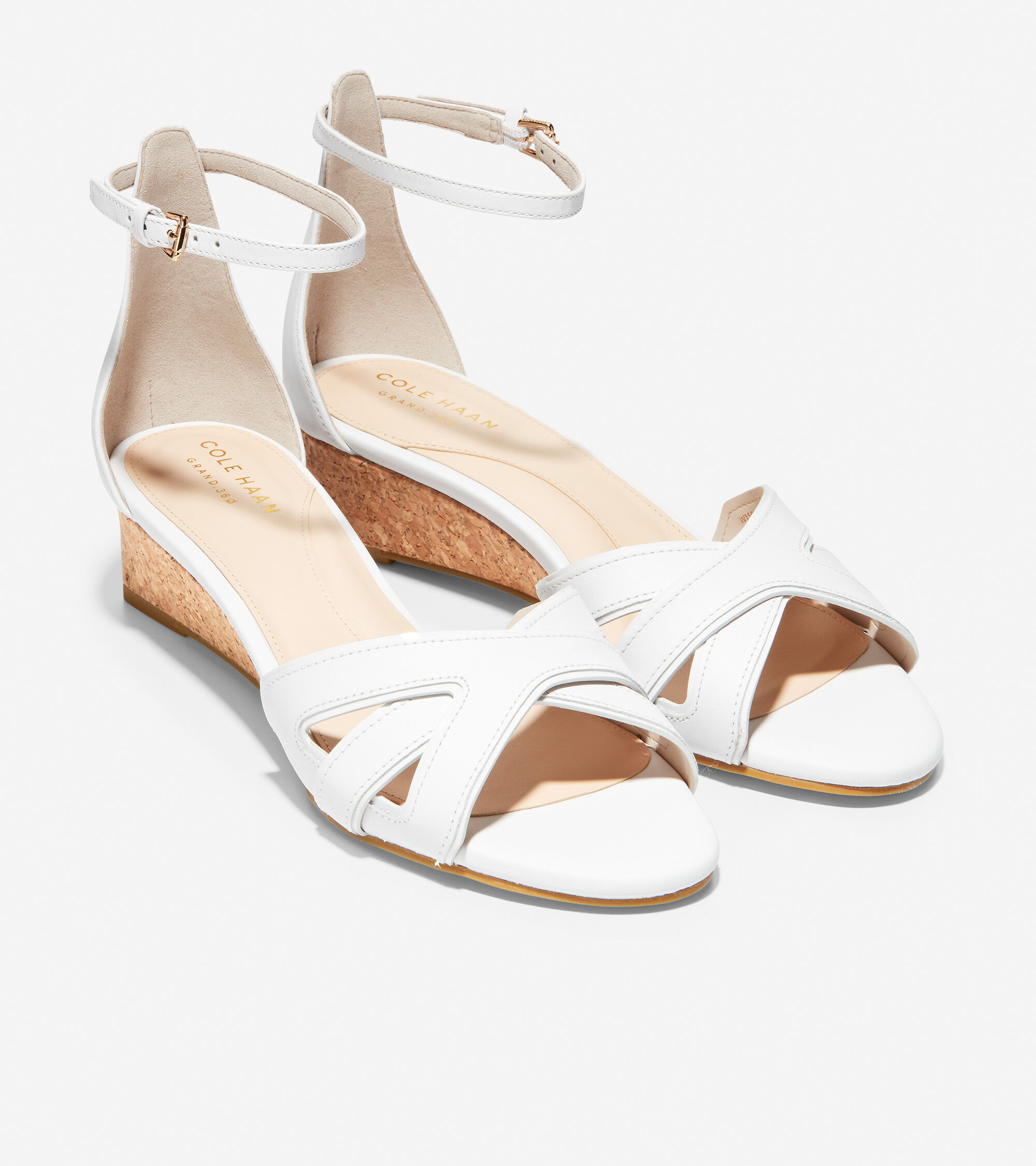 a37a2554a Cole Haan Hana Grand Wedge in Optic White Leather-Patent Cork ...