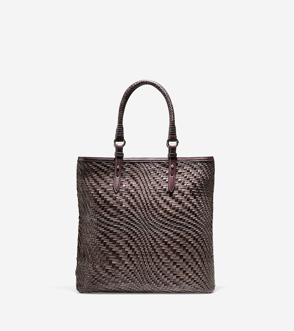 ccecf512e1 Women's Genevieve Weave N/S Tote in Chocolate Suede | Cole Haan US