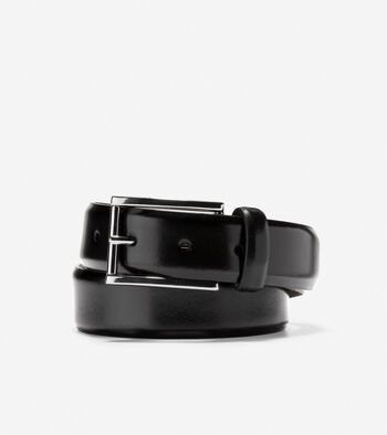 Mens 32mm Spazzolotto Belt In Black Brass Cole Haan
