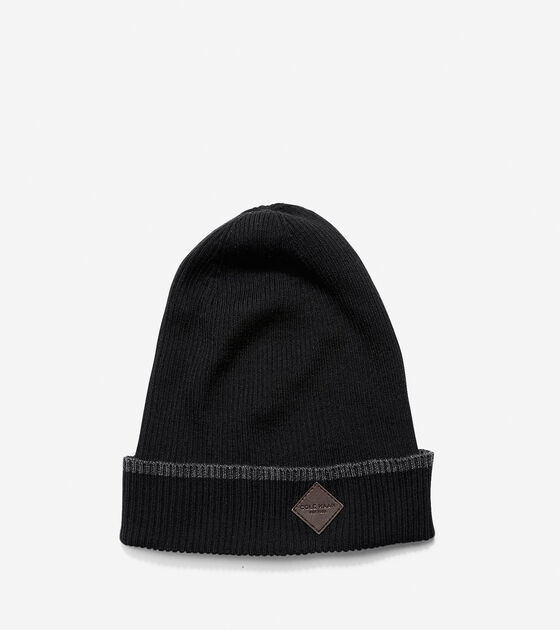 Men s Cashmere Blend Tipped Rib Cuff Hat in Black-Charcoal  ee7a1ccdcc6