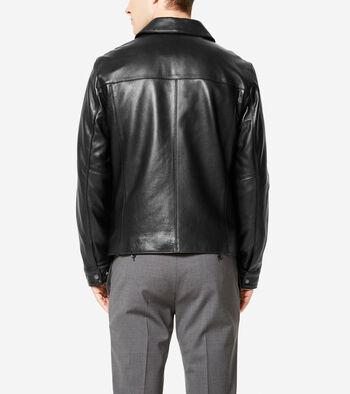 Signature Smooth Lambskin Shirt Collar Jacket