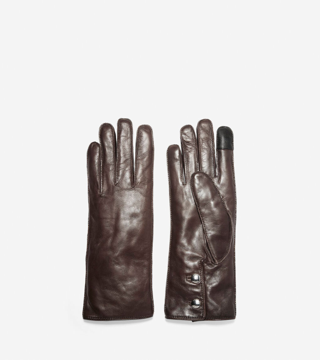 Womens Leather Gloves with Logo Button