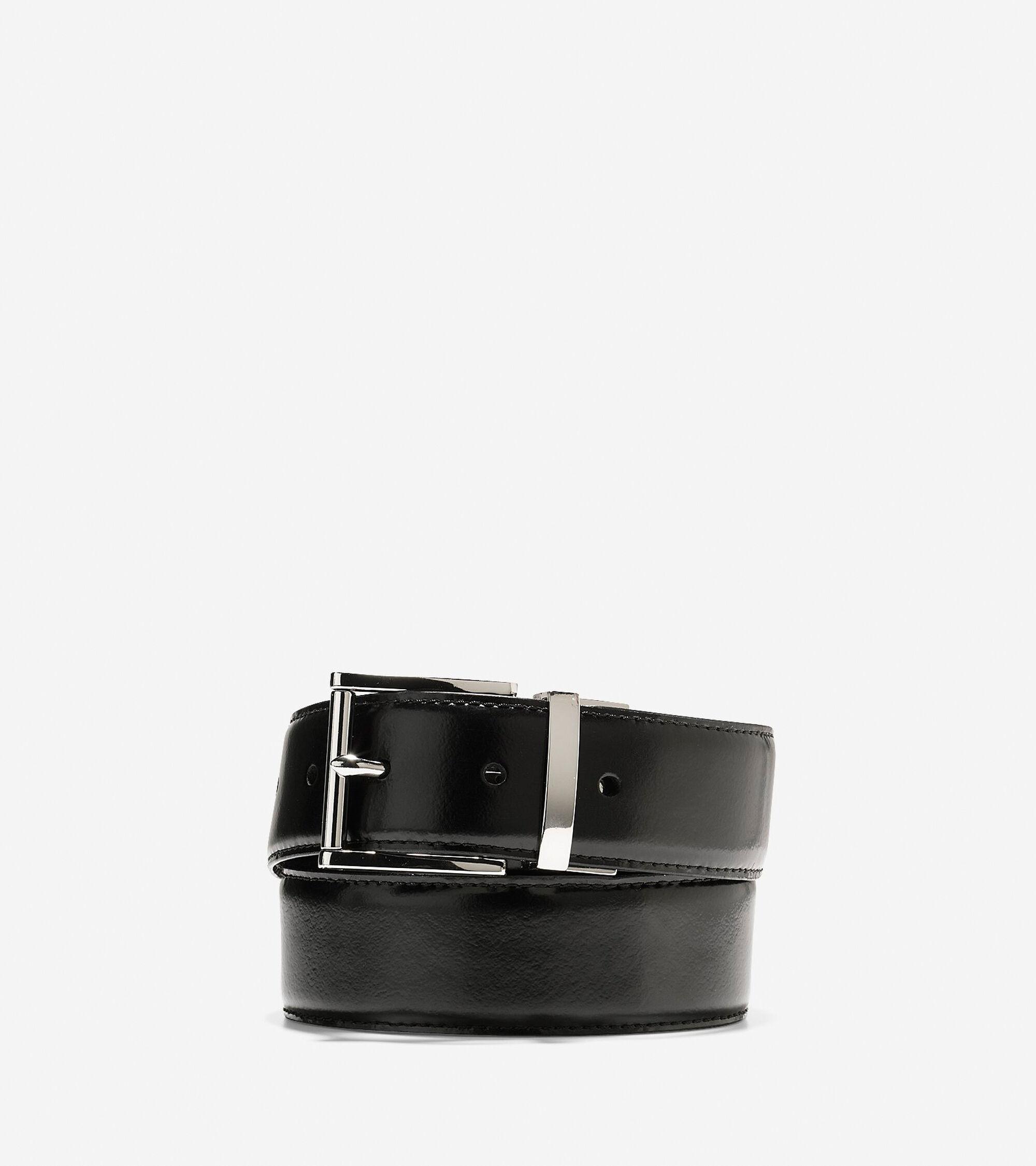 eecfb64ef4e 35mm Reversible Feather Edge Belt in Black-British Tan