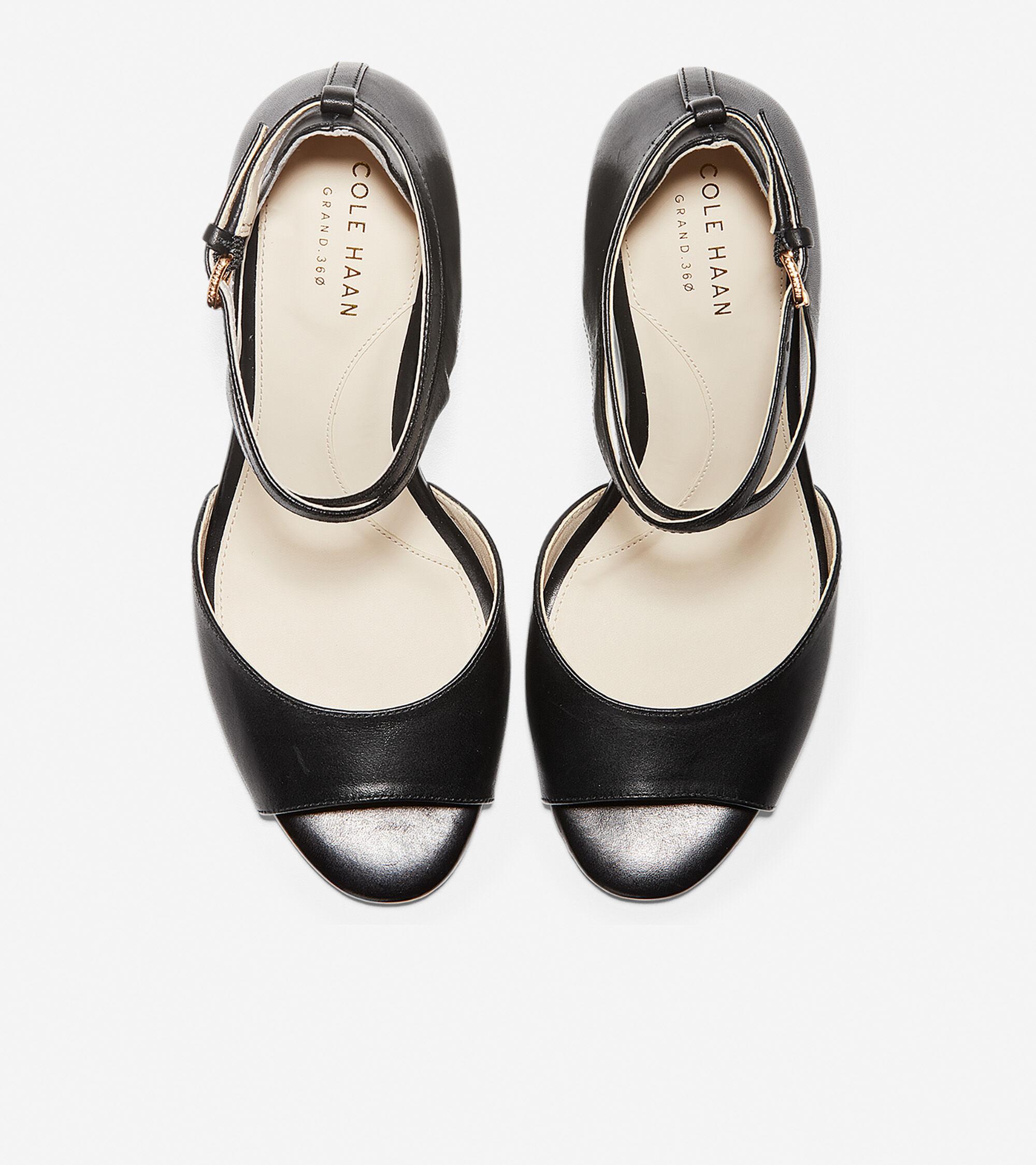 0487cba66 Women's Sadie Open Toe Wedge Sandals 75MM in Black | Cole Haan