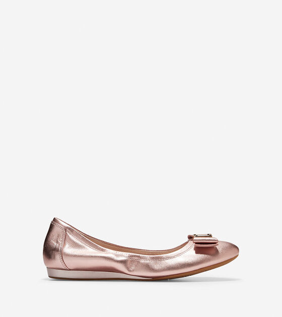 Womens Tali Bow Ballet Flats In Rose Gold Cole Haan