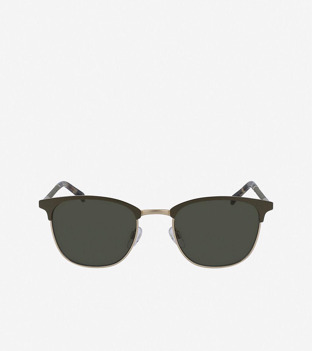 Mens Leather Square Sunglasses