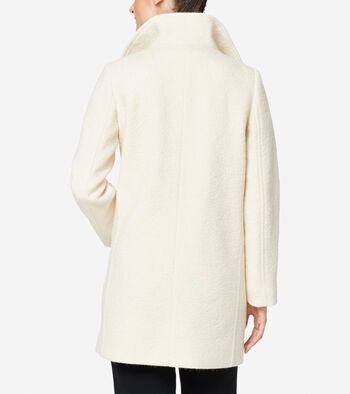 Crumbled Wool Funnel Collar Jacket