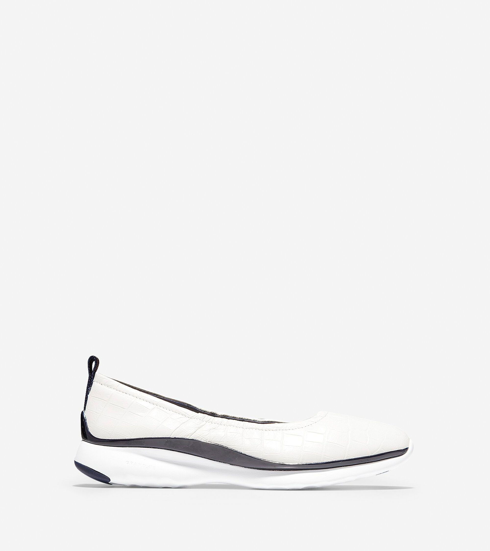 aaf4644e4bf Women s 3.ZEROGRAND Ruched Slip-On Ballet Flats in White Croc
