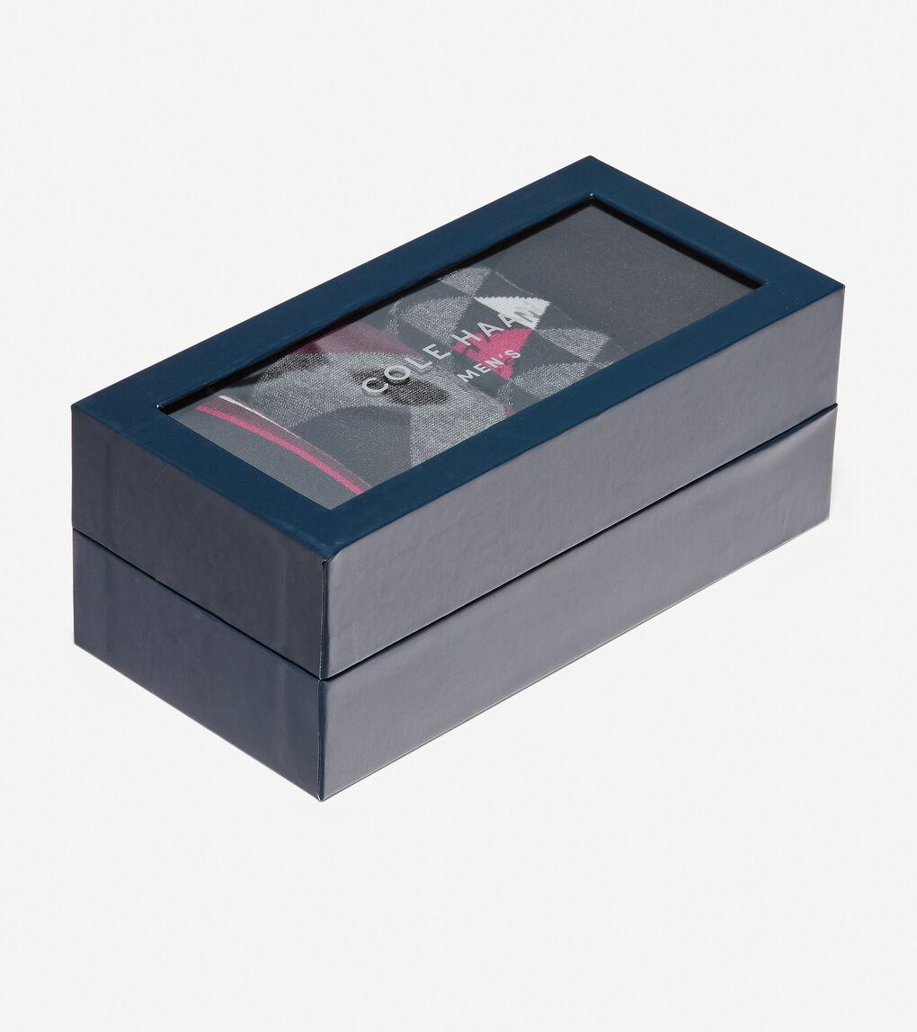 Mens 4 Pair Geometric Print Sock Gift Box