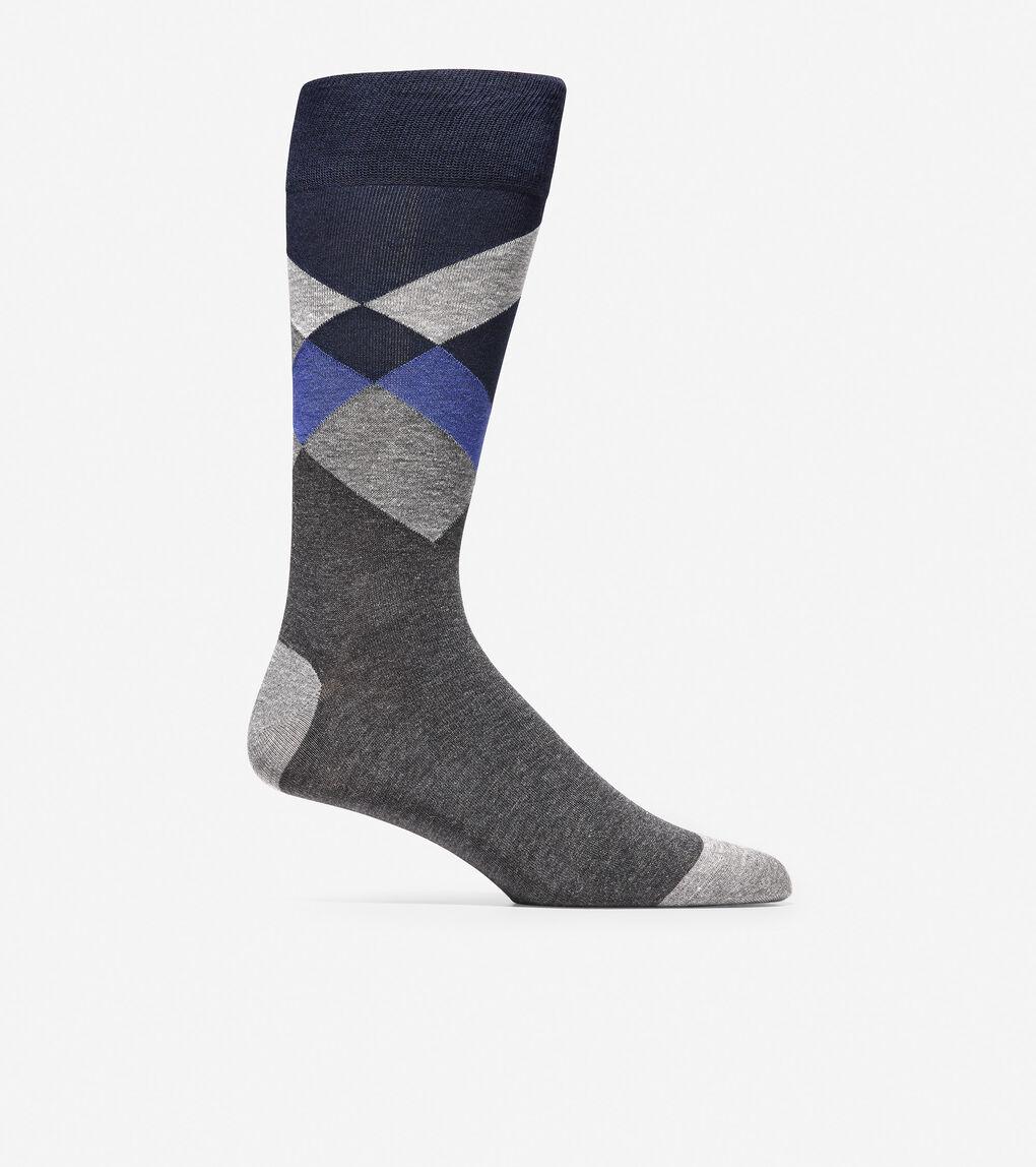 MENS Diagonal Color Block Crew Socks