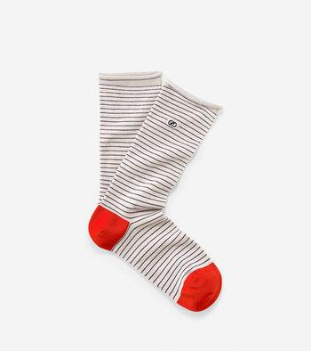 Roll Top Stripe Crew Socks