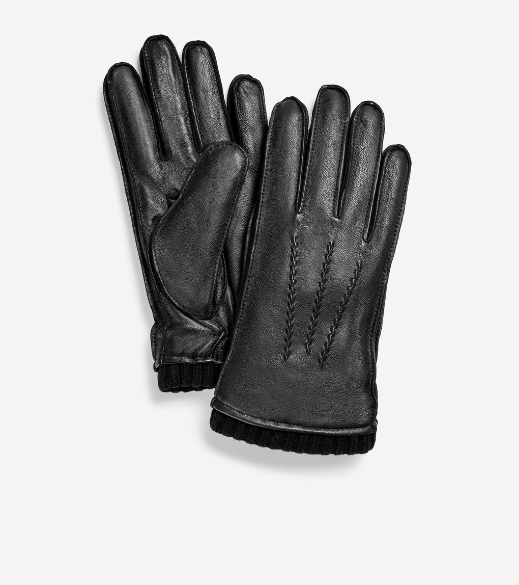 MENS GRANDSERIES Leather Knit Cuff Glove