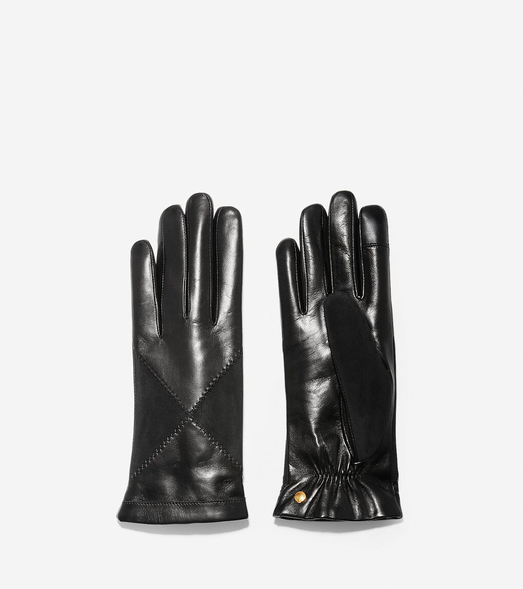 Womens Suede Diamond Leather Gloves
