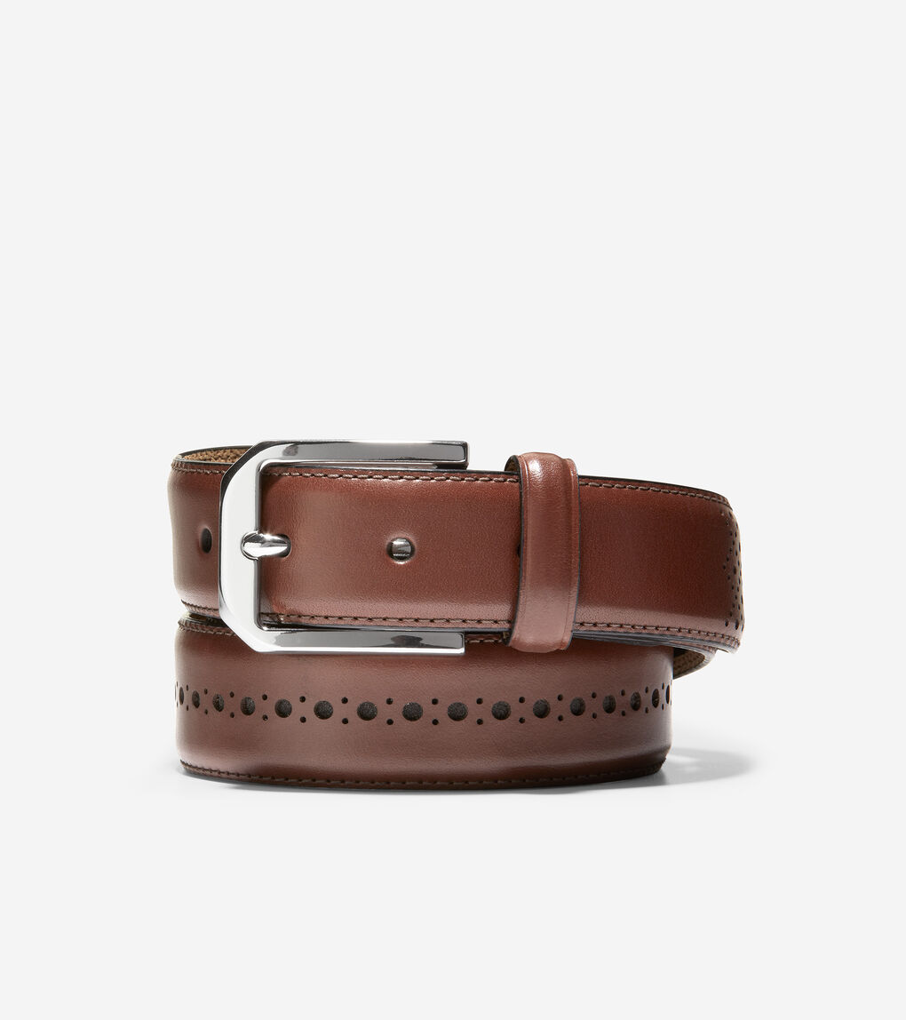 MENS Feathered Edge Brogue Perf 32mm Belt