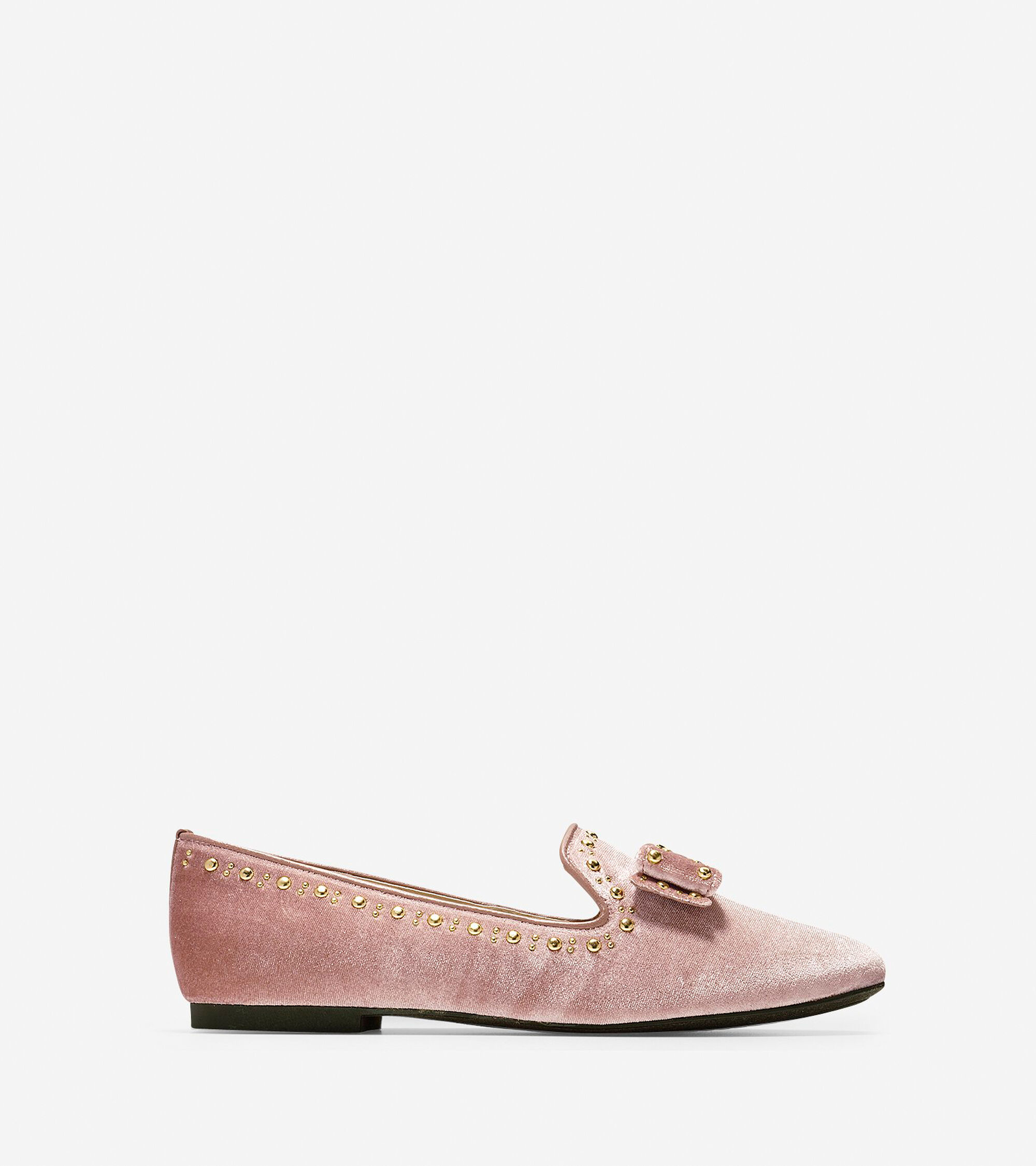 6f731f0a17f Women s Tali Bow Stud Loafers in Nude Velvet