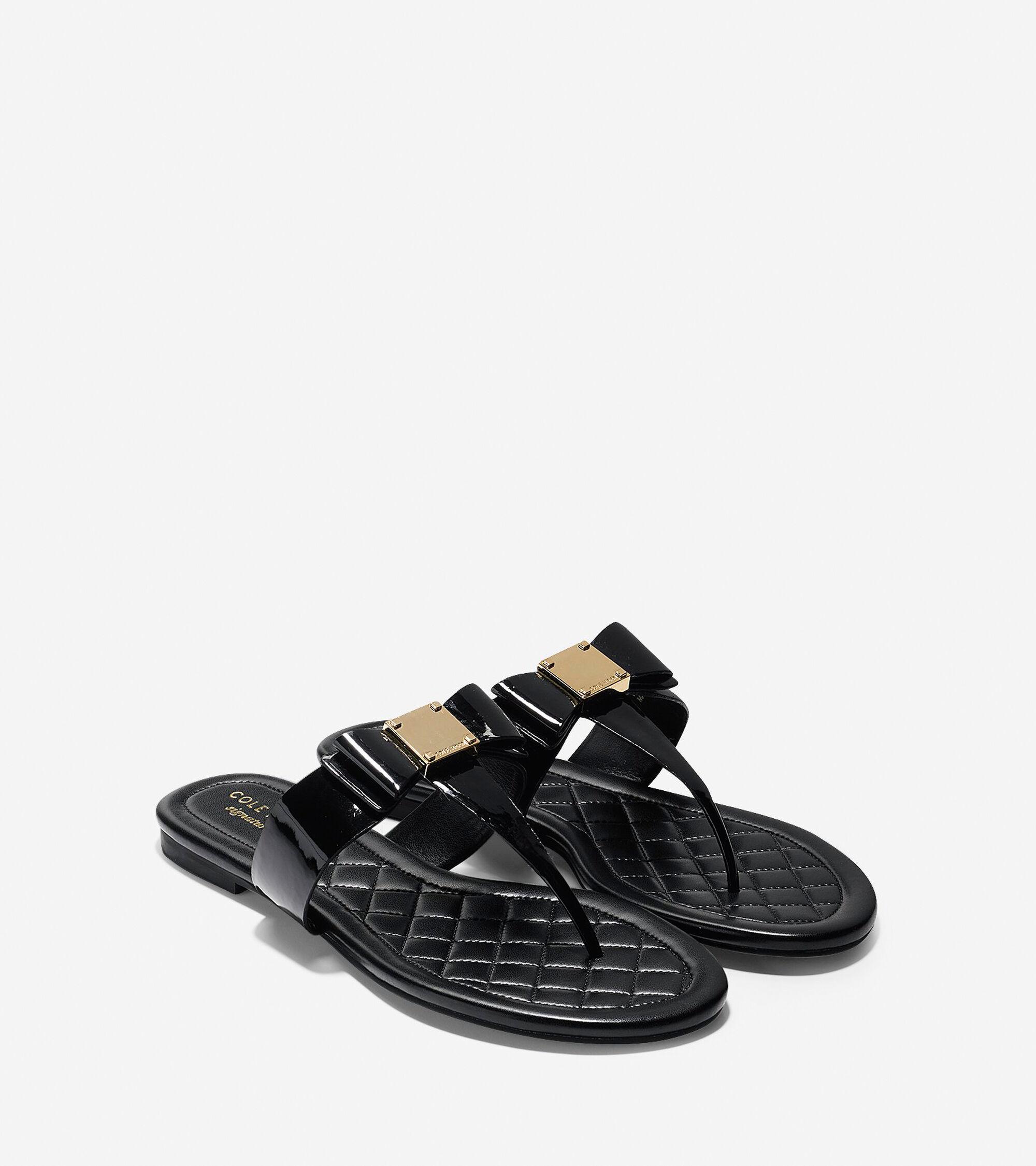 d37c00085 Womens Tali Bow Flat Sandals in Black Patent