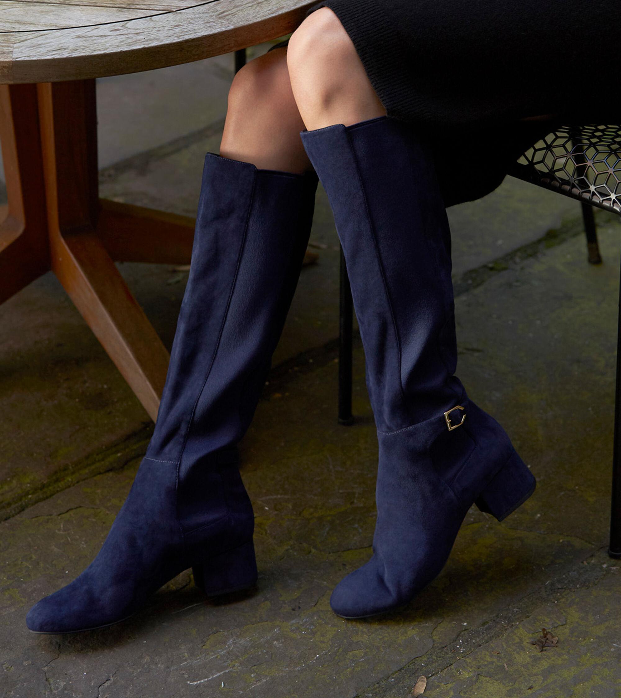 b7f8d5deafa Women s Avani Stretch Boots in Marine Blue Suede